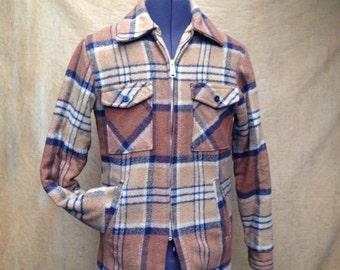 Plaid Blue Brown Chore Jacket // Vintage Mens Zippered Coat Size 40