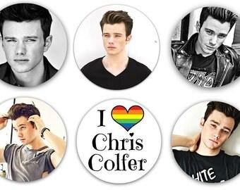 """Set of 6 Chris Colfer 1.25"""" Pinback Buttons, Flat Backs or Magnets Gay Interest Item Klaine Kurt"""