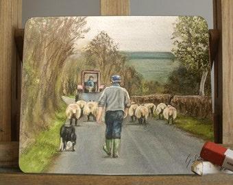 Farming Scene Placemat/Coaster By Irish Artist Grace Scott