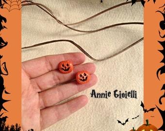 Halloween pumpkin earrings-earrings-accessories for halloween-Bijoux-Jewelry-studs-Handmade-jewelry