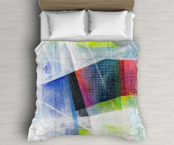 Art Duvet Cover, Abstract Bedding, Multicolor Decor, Mixed Media Art, Lightweight Duvet, Dorm Decor, Home Decoration
