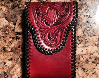 Hand Tooled Leather Smart Phone Case