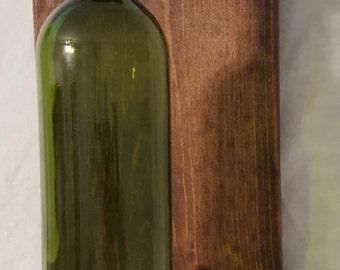 Wine bottle sconces dark brown stain