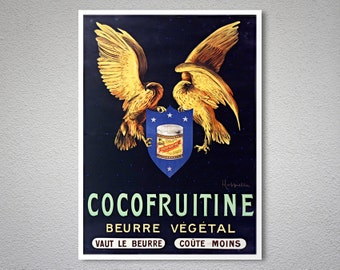 Cocofruitine Beurre Vegetal Vintage Food & Drink Poster by Leonetto Cappiello - Poster Print, Sticker or Canvas Print