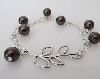 Chain Bracelets with Brown Beads and Leaves