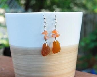 Earrings // Sterling Silver Earrings // Handmade Earrings // Sea Glass Earrings // Genuine Sea Glass Earrings // Brown Earrings
