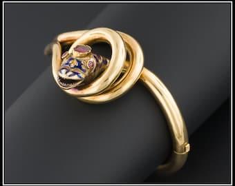 Antique Snake Bracelet | Victorian Snake Bangle | Garnet & Enamel Snake Bracelet | 18k Gold Antique Victorian Bracelet | Fine Bracelet