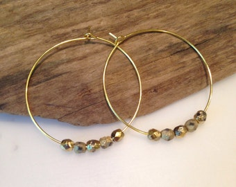 Gold Hoop Earrings, gold Etched Faceted beads, round gold hoop earrings, Boho Style, Small beaded hoops, gift for her
