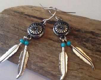 Boho Earrings, Silver Feather Turquoise Earrings, Feather Earrings, Native American, Southwestern Boho Earrings, Dangle Earrings