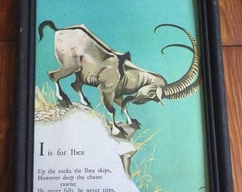 Vintage Storybook Print Ibex