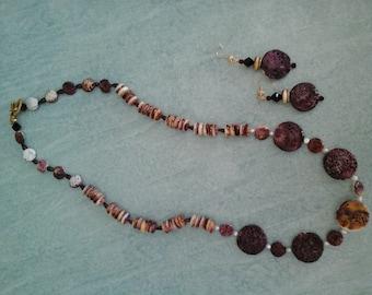 Plum Spiny Oyster Shell + Garnet Earrings & Necklace Set