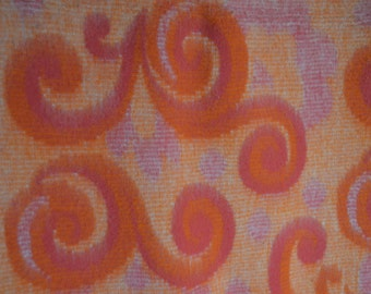 Vintage pink with orange blanket with swirls pattern, 100% viscose, Arosa