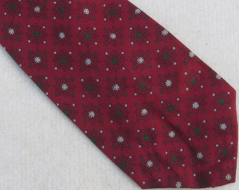 Red Silk Foullard Necktie Vintage A. Sulka Tie 60s Print