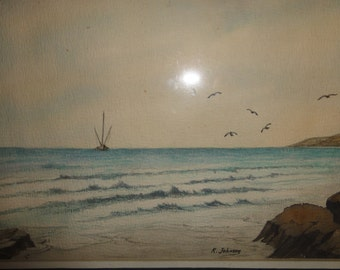 "Vintage Ocean Painting/Signed R. Johnson/Titled ""Fishing Vessel"""