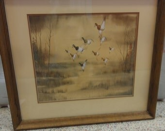Vintage Flying Ducks Watercolour/Signed