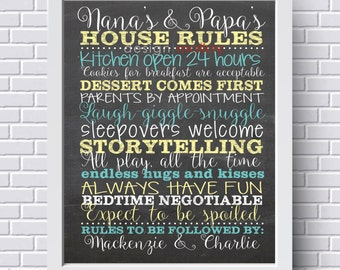 Personalized Grandparent Gift, Gift for Grandparents, Grandparents House Rules Sign, Grandparent Rules Print, Grandparent Rules Poster