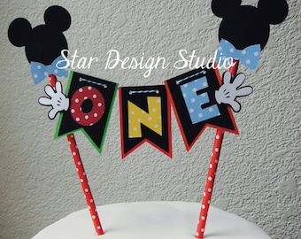 Mickey Mouse Cake Topper Birthday Bunting-  Red, blue, yellow, green
