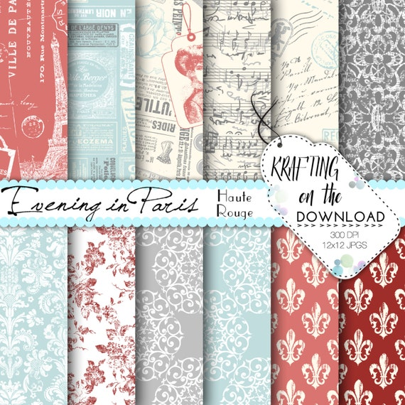 Eiffel Tower Digital Paper Pack Coral and teal vintage floral lace french scrapbooking papers music notes vintage fashion instant download
