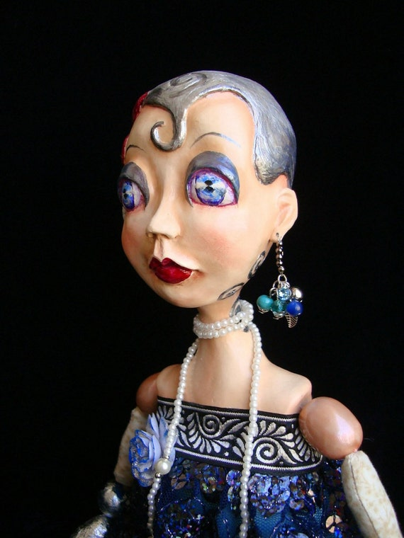 Flapper Girl, Boudoir Doll Abygail, fatal blonde, Art Deco, Gatsby style, bead jointed doll, OOAK, 20s style