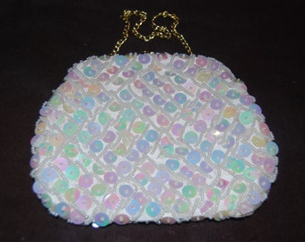 Cute Bridal Ivory Sequined Clutch Purse