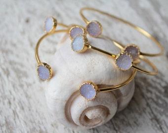 Double Druzy Round Stone Cuff Bracelet