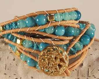 Turquoise and gold natural leather triple wrap bracelet