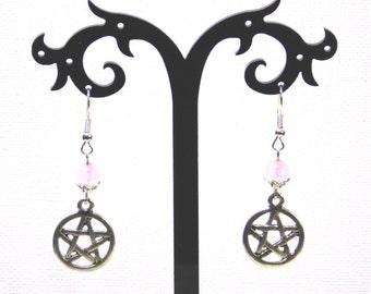 Rose Quartz/Pentagram Pagan Wicca Earrings