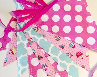 Birthday fabric bunting, cupcake banner, pink birthday banner, pink flag banner, birthday party banner, classroom decor, catering supply