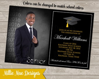 SALE 50% OFF Custom Graduation Invitation - School Colors