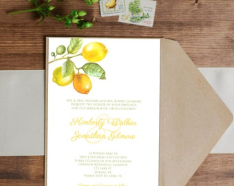 SALE 25% OFF Lemon Invitation - Birthday - Wedding - Baby Shower - Bridal Shower