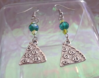 PIZZA, dangling earrings with beads in shades of green.