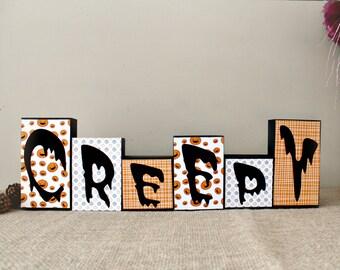 Halloween Wood Sign, Creepy Wood Blocks, Halloween Decor, Fall Decor, Halloween Wood Blocks, Creepy Wood Sign, Reversible Blocks Option