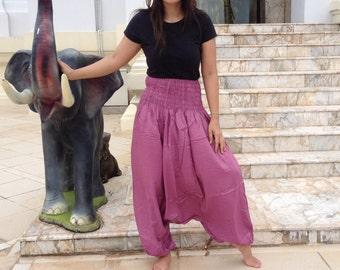 Ladies Harem Pants Deep Drop Smocked Screen Yoga Spiritual Dusky Pink