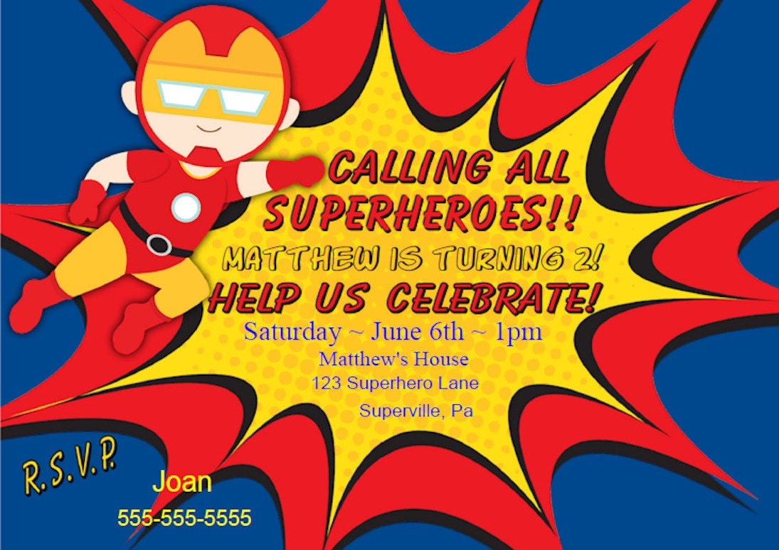superhero invitation – funpartysupply