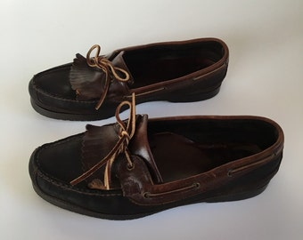 Vintage Bass Leather Boat Shoes Men's size 9