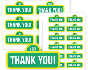 Instant Download -  Sesame Street Thank You Tags | Sesame Street Thank You Favor Tag | 2 Sized Medium and Small