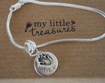 Heart Silver Mini Hands and feet Bracelet- fingerprint Jewellery-fingerprint jewelry -silver bracelet -bracelet charm
