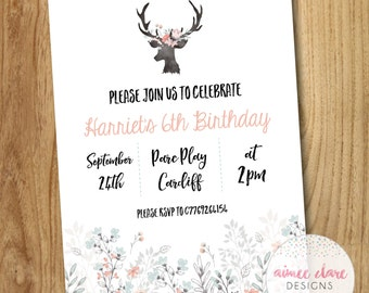Personalised Floral Woodland Birthday Girl Party Invitations