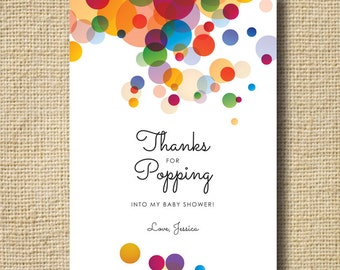 "POP! Baby Shower Thank You Card, Baby Shower ""She's Gonna POP!"" Thank You Personalized Printable Thank You Card Digital Card"