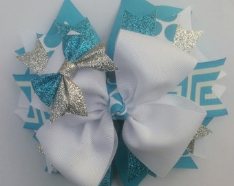 Turquoise and White Boutique Hair Bow, Large Hairbow, 6 Inch Hair Bow, Girls Hairbow, Stacked Hairbow, Pinwheel Hair Bow, Baby Toddler Bow