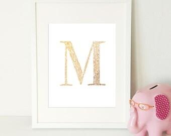 Gold Foil Monogram Print, Nursery Print, M
