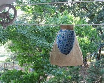 Clothespin Bag made of Upcycled Burlap and Cotton
