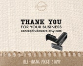 Custom Thank You Self-Inking Pocket Stamp for Business On the Go, Push and Slide to Use PS007