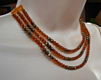 Crystal Bib Necklace, West Germany, Triple Strand, Faceted Topaz