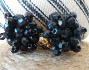 Vintage Earrings, Clip On Earrings, Black Earrings, Cluster Earrings, Bead Earrings, Vintage Earrings, Black Bead Clip on, Glam Earrings,
