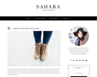"Responsive Wordpress Blog Theme ""Sahara"" - Feminine Self-Hosted Wordpress Blog Theme"