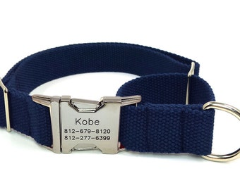 Personalized Martingale  Dog Collars Engraved Name Phone Metal Buckle Webbing 15 colors