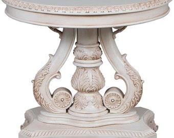 Painted Center Table Carved Pedestal Base