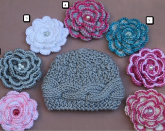 Newborn Gray Girl Hat Newborn Beanie with 7 flowers-Newborn Gray Hat Baby Hat Sizes Newborn-10 Yrs Flower Hat