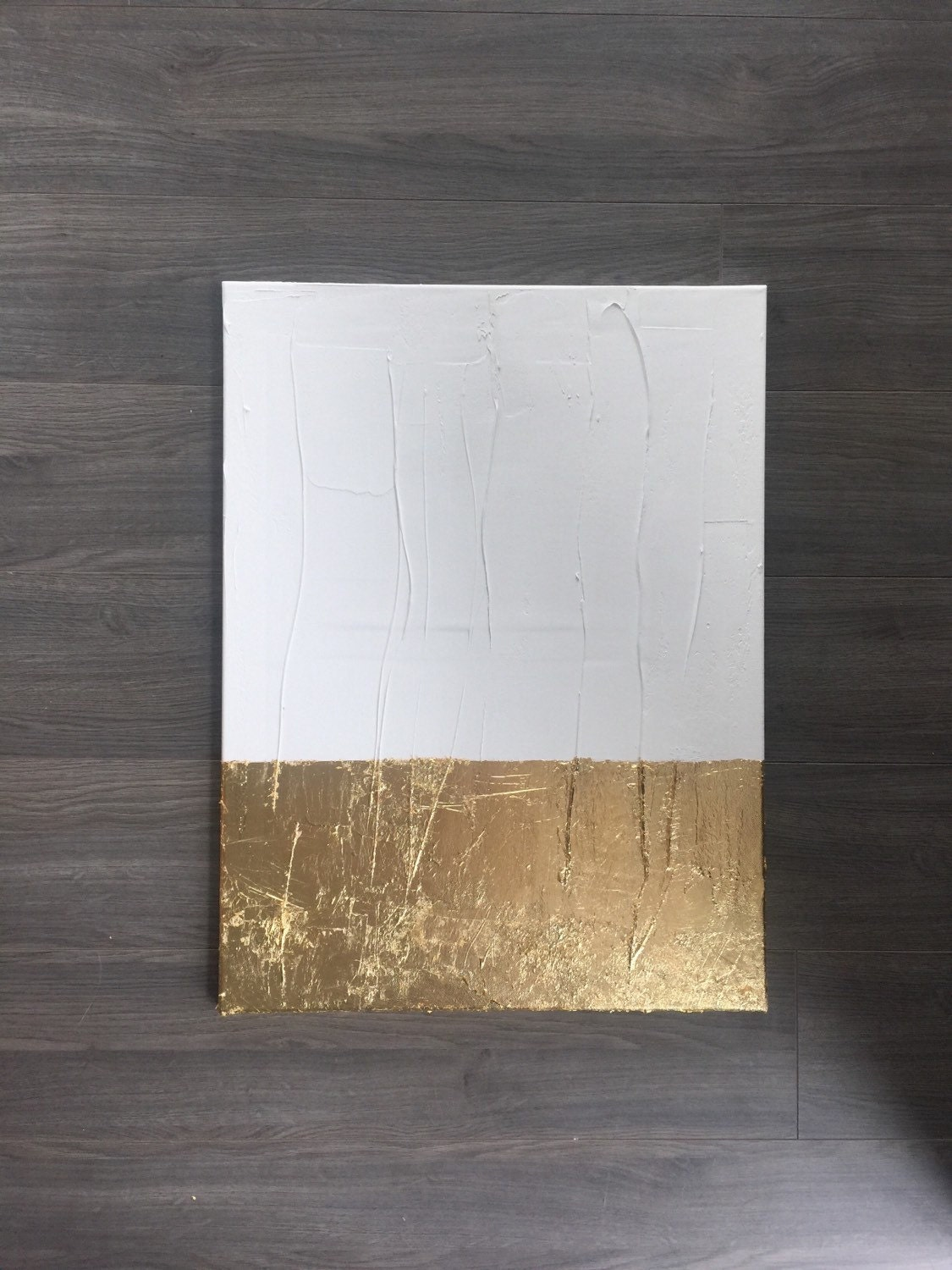 Modern white and gold leaf canvas painting